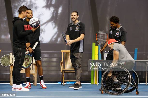 Thanasi Kokkinakis Nick Kyrgios Chris Goulding Casper Ware and Dylan Alcott are seen during an Australian Open announcement at Melbourne Park on...