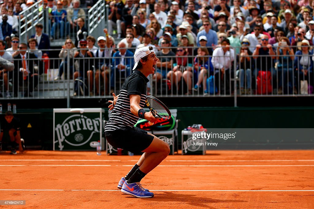 Thanasi Kokkinakis of Australia celebrates match point during his Men's Singles match against Bernard Tomic of Australia on day five of the 2015 French Open at Roland Garros on May 28, 2015 in Paris, France.