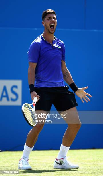 Thanasi Kokkinakis of Australia celebrates victory during mens singles first round match against Milos Raonic of Canada on day two of the 2017 Aegon...