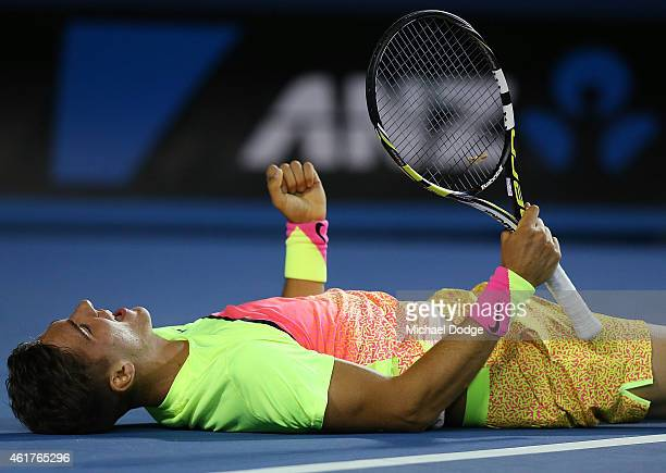 Thanasi Kokkinakis of Australia celebrates winning in his first round match against Ernests Gulbis of Latvia during day one of the 2015 Australian...