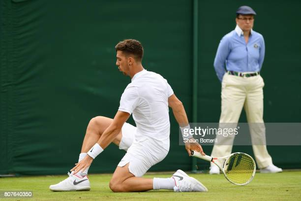 Thanasi Kokkinakis of Australia in action during the Gentlemen's Singles first roud match against Juan Martin Del Potro of Argentina on day two of...