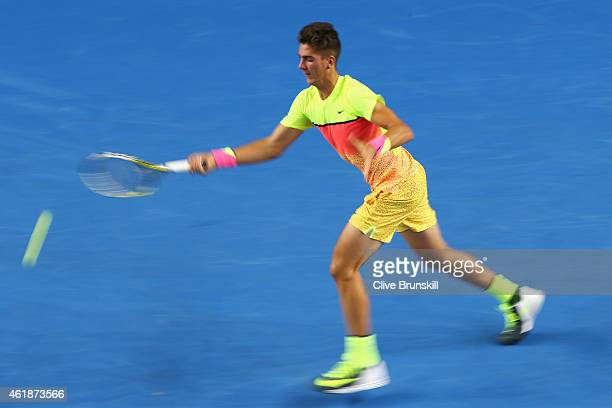 Thanasi Kokkinakis of Australia plays a forehand during his second round match against Samuel Groth of Australia during day three of the 2015...
