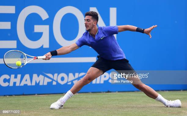 Thanasi Kokkinakis of Australia plays a forehand during the mens singles second round match against Daniil Medvedev of Russia on day four of the 2017...