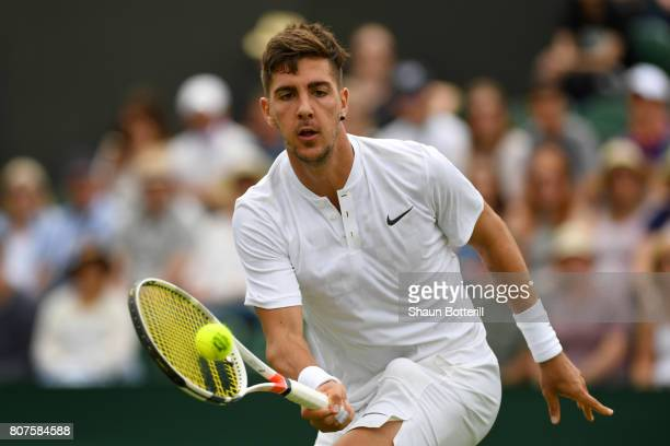 Thanasi Kokkinakis of Australia plays a forehand during the Gentlemen's Singles first roud match against Juan Martin Del Potro of Argentina on day...