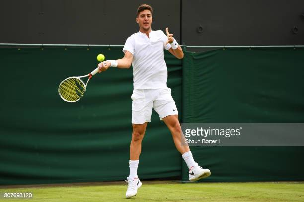 Thanasi Kokkinakis of Australia plays a forehand during the Gentlemen's Singles first round match against Juan Martin Del Potro of Argentina on day...