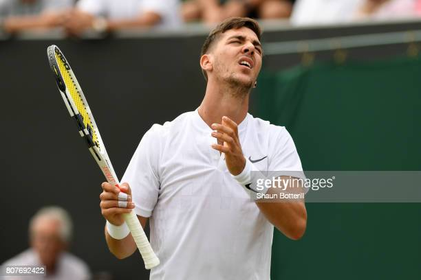 Thanasi Kokkinakis of Australia reacts during the Gentlemen's Singles first round match against Juan Martin Del Potro of Argentina on day two of the...