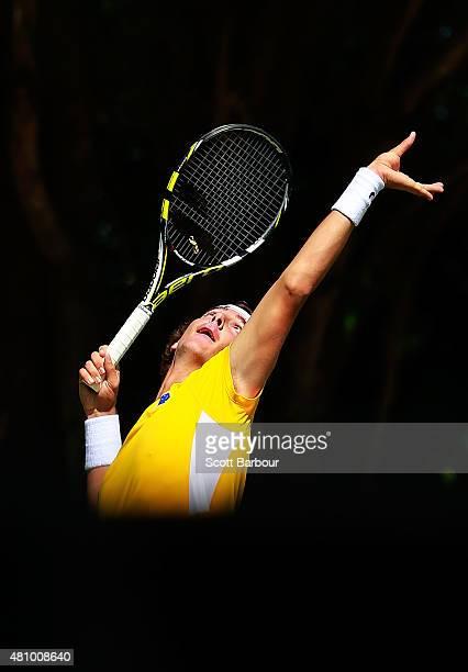 Thanasi Kokkinakis of Australia serves in his singles match against Mikhail Kukushkin of Kazakhstan during day one of the Davis Cup World Group...
