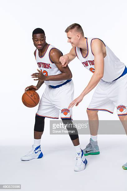 Thanasis Antetokounmpo and Kristaps Porzingis of the New York Knicks pose for a portrait at Media Day at the MSG Training Facility in Greenburgh New...