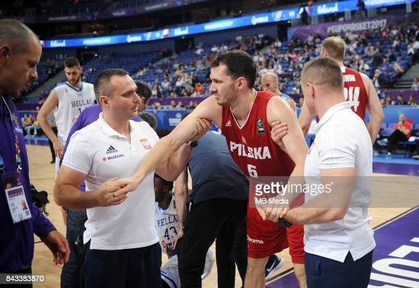 Thanasis Antetokounmpo of Greece Aaron Cel of Poland receieve medical attention during the FIBA Eurobasket 2017 Group A match between Greece and...
