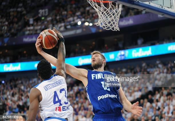 Thanasis Antetokounmpo of Greece and Matti Nuutinen of Finland during the FIBA Eurobasket 2017 Group A match between Greece and Finland on September...