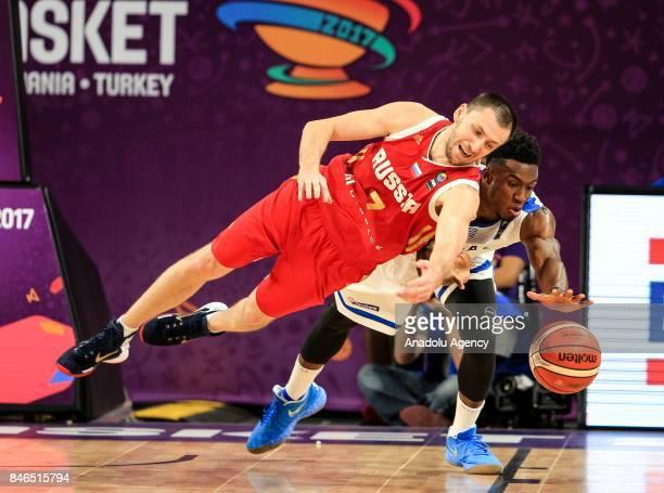 Thanasis Antetokounmpo of Greece vies with Vitaly Fridzon of Russia during the FIBA Eurobasket 2017 quarter final basketball match between Greece and...
