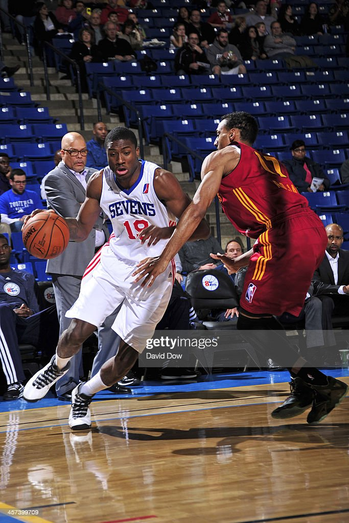 Thanasis Antetokounmpo of the Delaware 87ers handles the ball against the Fort Wayne Mad Ants during the NBA DLeague game on December 15 2013 at the...