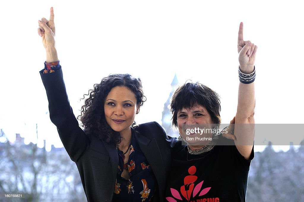 Thandie Newton and Eve Ensler attend a photocall to promote One Billion Rising, a global movement aiming to end violence towards women, at ICA on February 5, 2013 in London, England.