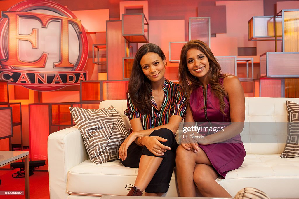 Thandie Newton (L) and Sangita Patel in the ET Canada Festival Central Lounge at the 2013 Toronto International Film Festival on September 8, 2013 in Toronto, Canada.