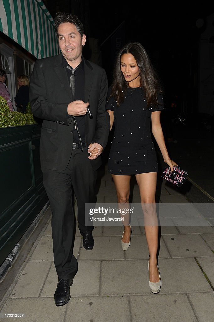 <a gi-track='captionPersonalityLinkClicked' href=/galleries/search?phrase=Thandie+Newton&family=editorial&specificpeople=210812 ng-click='$event.stopPropagation()'>Thandie Newton</a> leaving Harry's Bar after Chanel dinner. on June 10, 2013 in London, England.