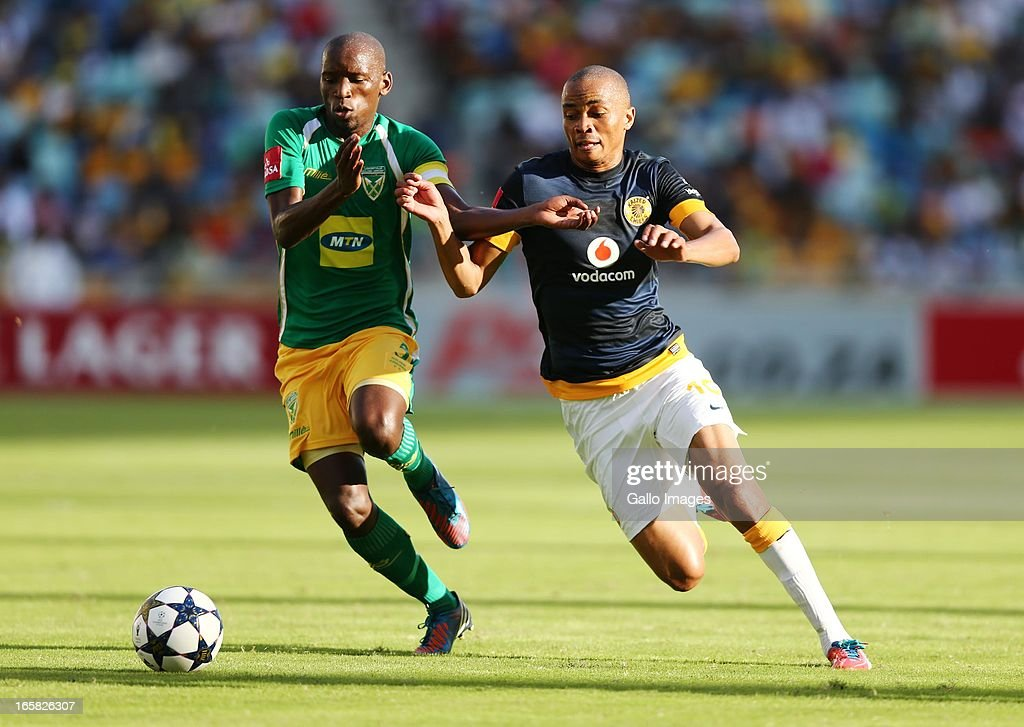 Thanduyise Khuboni (L) and Siyabonga Nkosi during the Absa Premiership match between Golden Arrows and Kaizer Chiefs at Moses Mabhida Stadium on April 06, 2013 in Durban, South Africa.