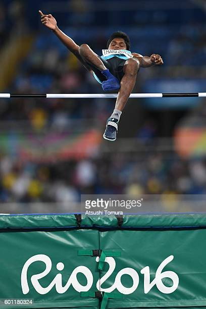 Thangavelu of India competes in the men's high jump T42 final during the Rio 2016 Paralympic Games at Olympic Stadium on September 9 2016 in Rio de...