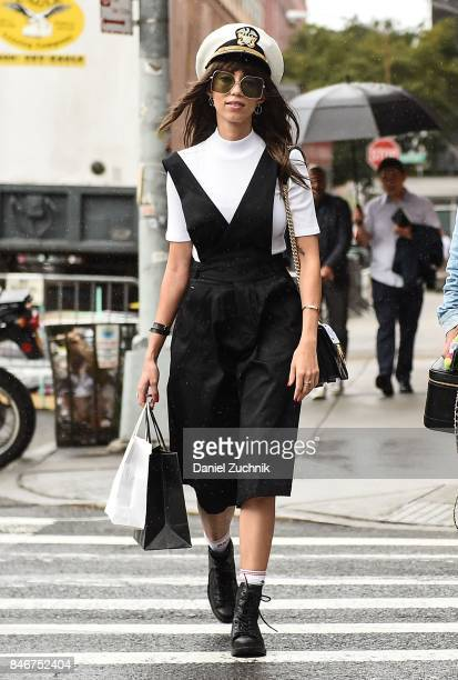 Thania Peck is seen outside the Marchesa show during New York Fashion Week Women's S/S 2018 on September 13 2017 in New York City