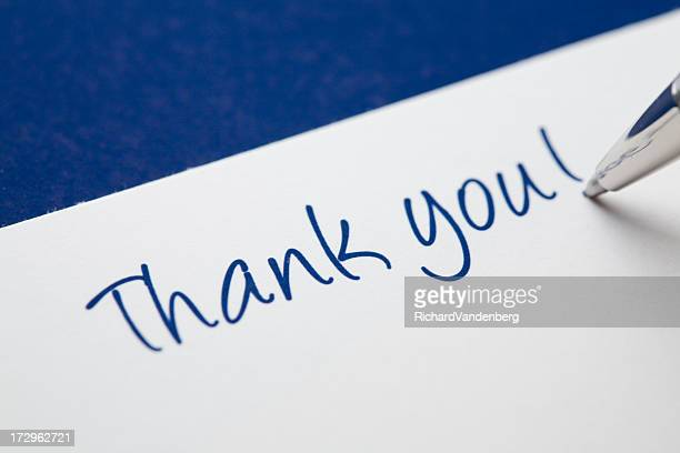Thank you card on blue