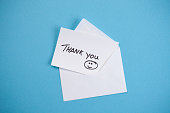 Thank you note on blue background