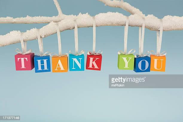 ありがとうございました。クリスマスのギフトボックスから垂れ下がる