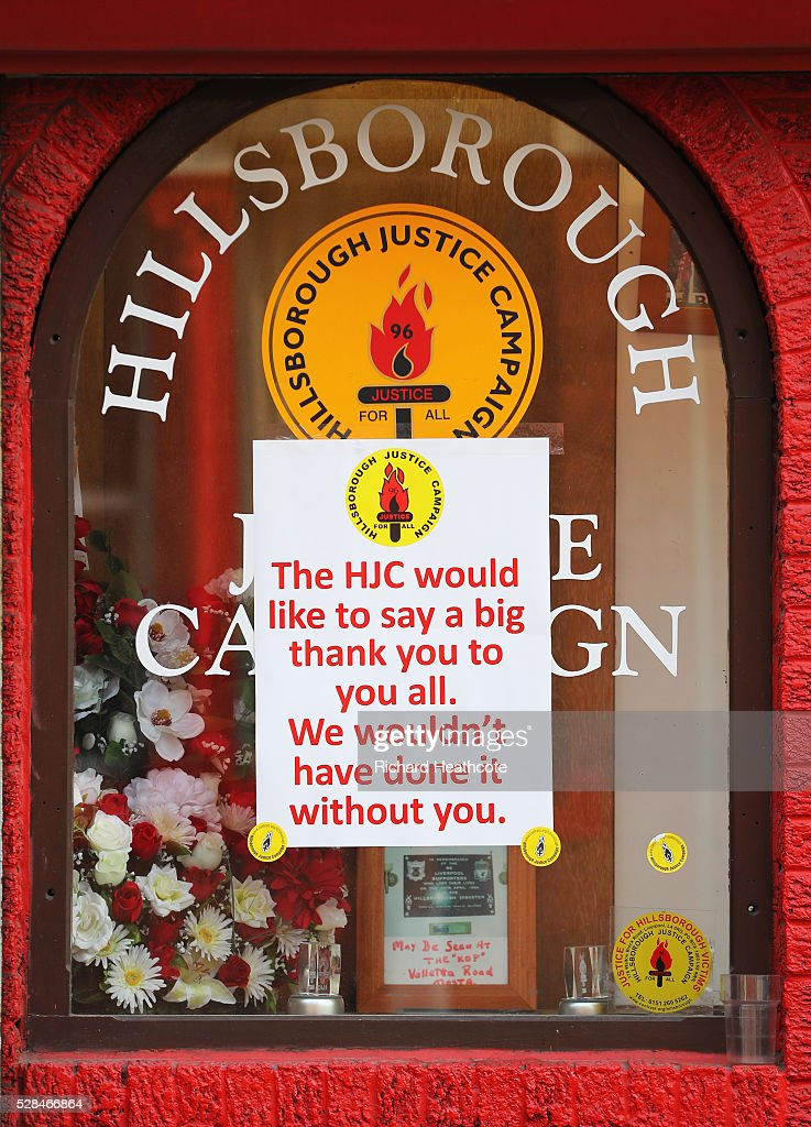 A thank you message is seen in a Hillsborough Justice Campaign office window prior to the UEFA Europa League semi final second leg match between Liverpool and Villarreal CF at Anfield on May 5, 2016 in Liverpool, England.