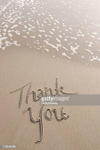 Thank You Note Handwritten Message in the Sand