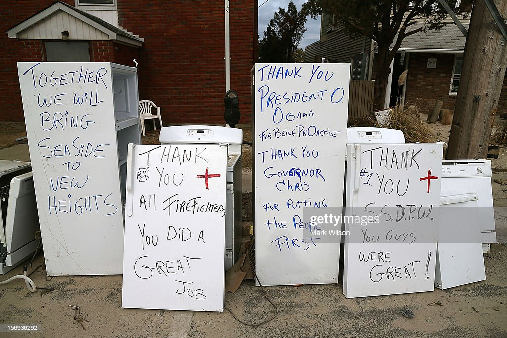 Thank you notes are written on refrigerators damaged by Superstorm Sandy on November 25, 2012 in Seaside Heights, New Jersey. New Jersey Gov. Christie estimated that Superstorm Sandy cost New Jersey $29.4 billion in damage and economic losses.