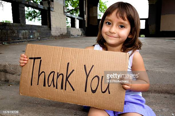 Thank You Sign Held By Cute Little Girl