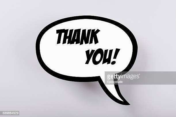 Thank you! speech bubble against gray background