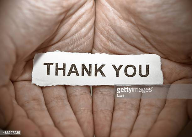 Thank you text on hand
