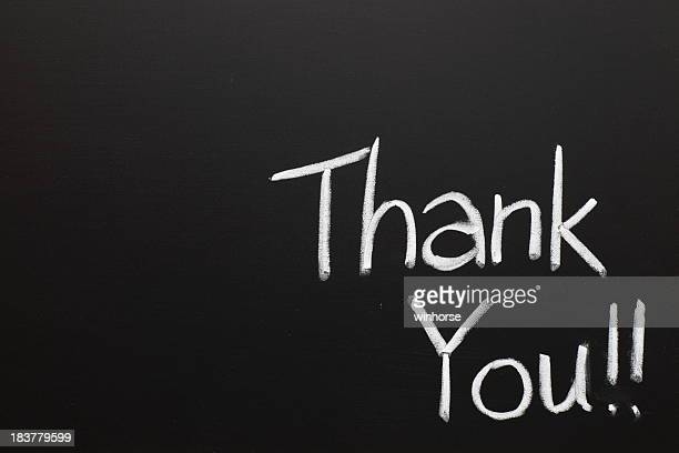 Thank you wrote on a chalk board