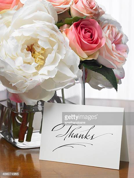 Thanks card with flower bouquet