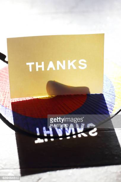 thanks message card, korean traditional background