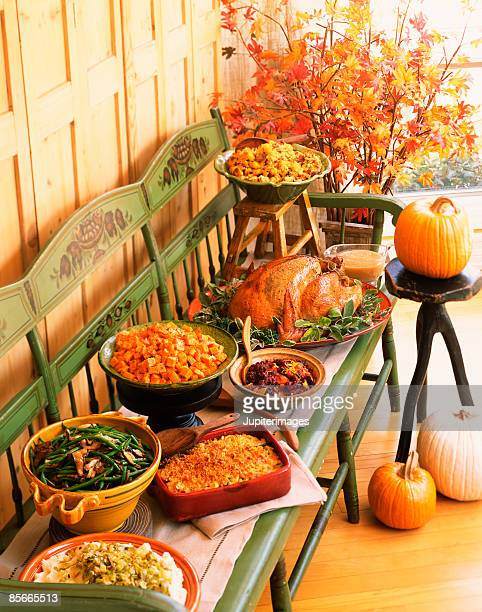 Thanksgiving buffet on a bench