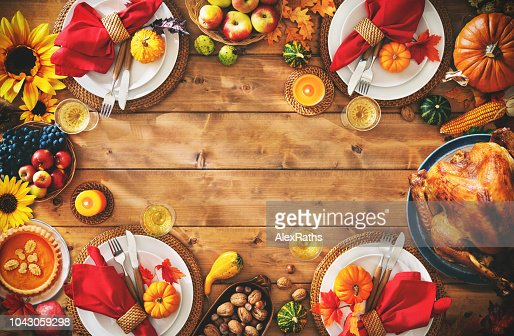 Thanksgiving celebration traditional dinner setting meal concept : Foto de stock