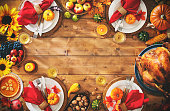 Thanksgiving celebration traditional dinner setting meal concept with copy space