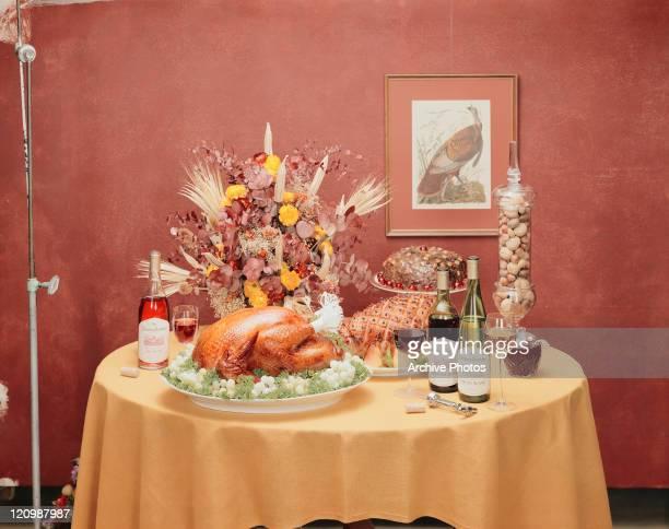 Thanksgiving dinner set on table
