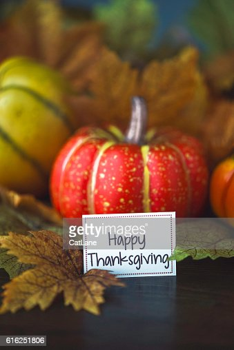 Thanksgiving fall arrangement with pumpkins, leaves and Happy Thanksgiving message : Foto de stock