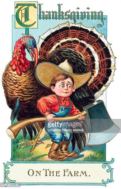 Thanksgiving greeting card with illustration of boy and turkey from 20th century