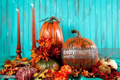 Thanksgiving pumpkins and candles