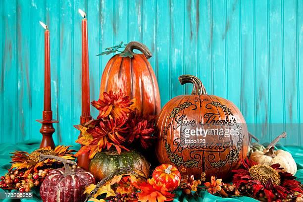 Thanksgiving Kürbisse und Kerzen
