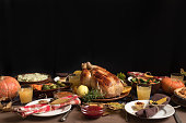 Thanksgiving Turkey Dinner with All the Sides. Homemade Roasted Turkey and all traditional dishes on Festive Thanksgiving table, copy space.