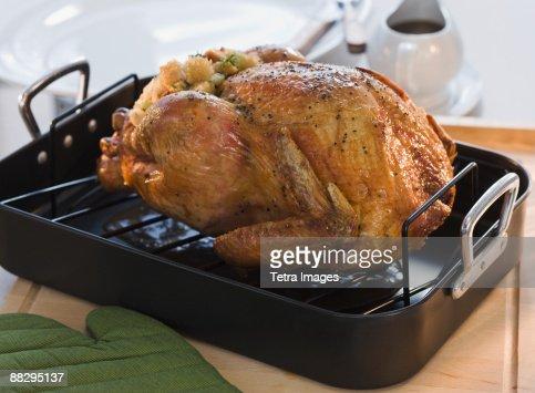 Thanksgiving turkey in roasting pan