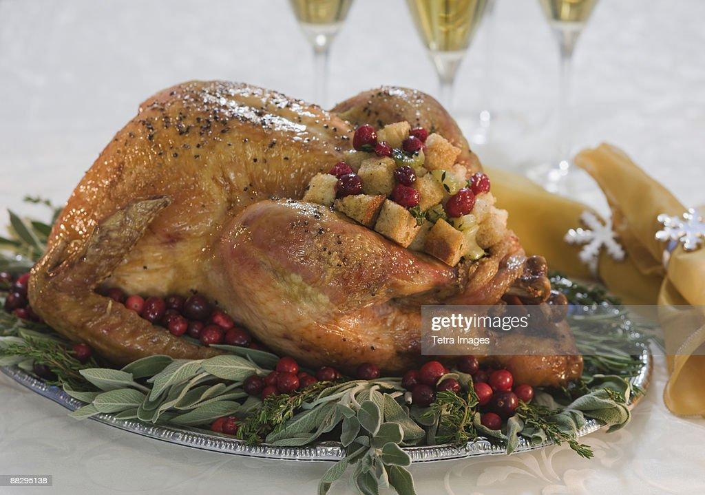 Thanksgiving turkey on decorated platter