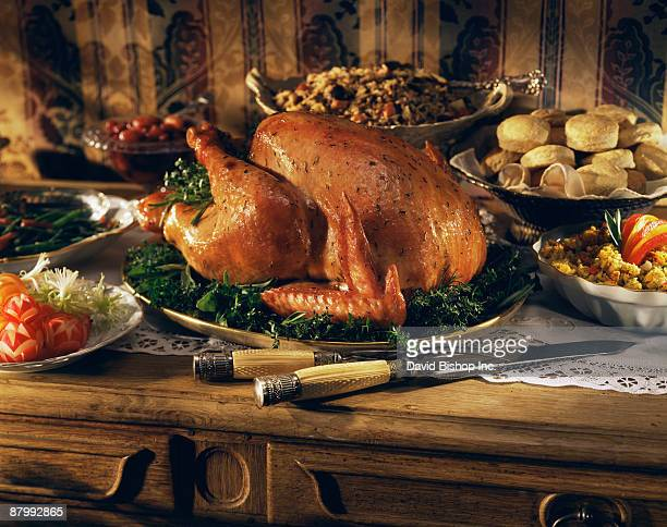 Thanksgiving turkey on sideboard buffet