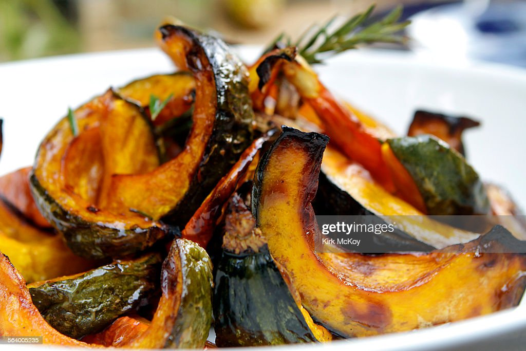 Thanksgiving with chefs Karen and Quinn Hatfield at their home in Laurel Canyon Roasted kabocha squash with a sprig of rosemary