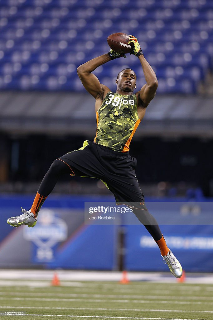 Tharold Simon of LSU works out during the 2013 NFL Combine at Lucas Oil Stadium on February 26, 2013 in Indianapolis, Indiana.