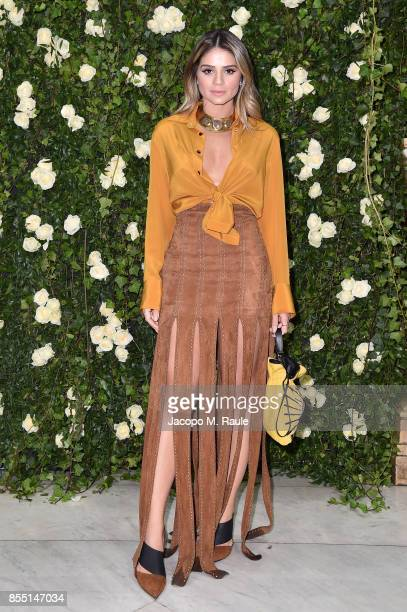 Thassia Naves attends the Balmain show as part of the Paris Fashion Week Womenswear Spring/Summer 2018 on September 28 2017 in Paris France