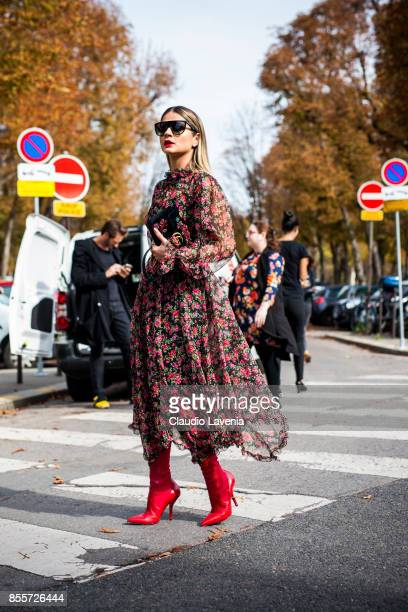 Thassia Naves is seen before the Issey Miyake show at the Grand Palais during Paris Fashion Week Womenswear SS18 on September 29 2017 in Paris France